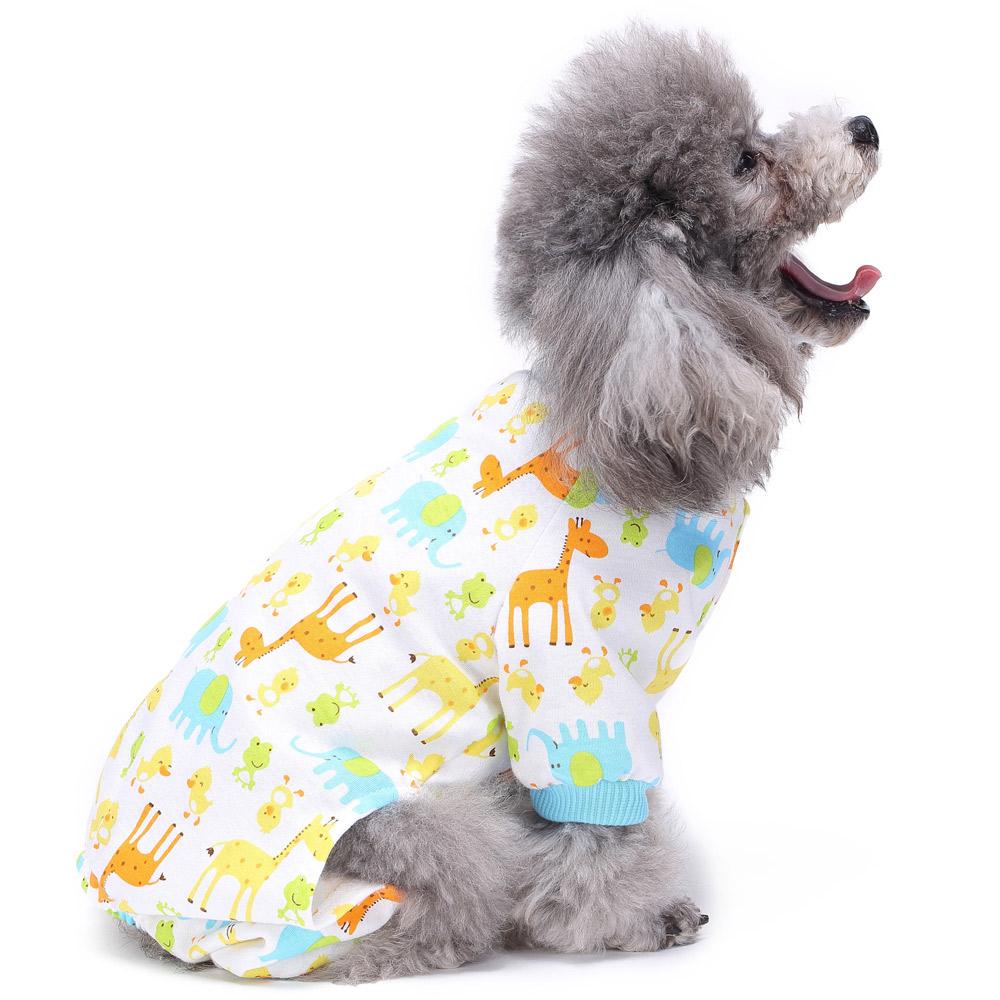 Pets Dog Cartoon Pattern Pajamas Puppy Clothes Jumpsuit Apparel Sleepwear PJS 10