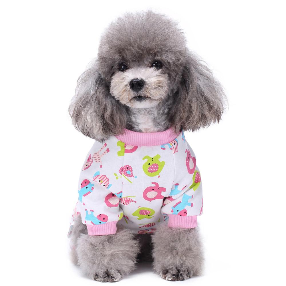 Pets Dog Cartoon Pattern Pajamas Puppy Clothes Jumpsuit Apparel Sleepwear PJS 3