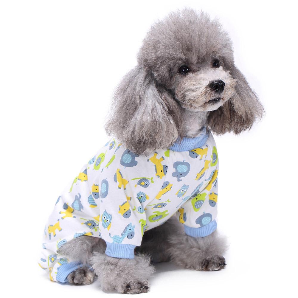Pets Dog Cartoon Pattern Pajamas Puppy Clothes Jumpsuit Apparel Sleepwear PJS 4