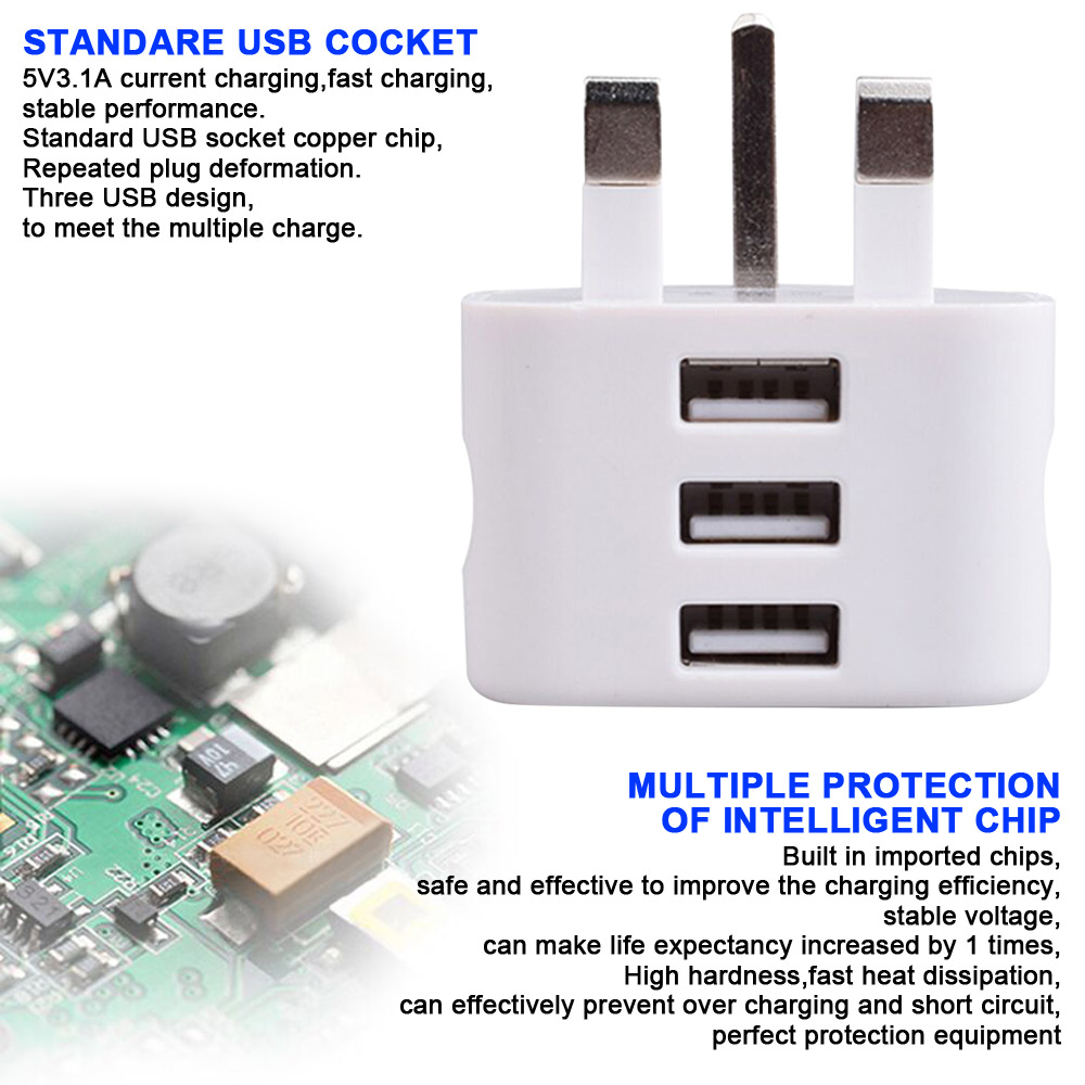 Details about Portable UK Plug Wall 3 Pin USB Power Adaptor Charger For  Mobile Phone Hot Sell