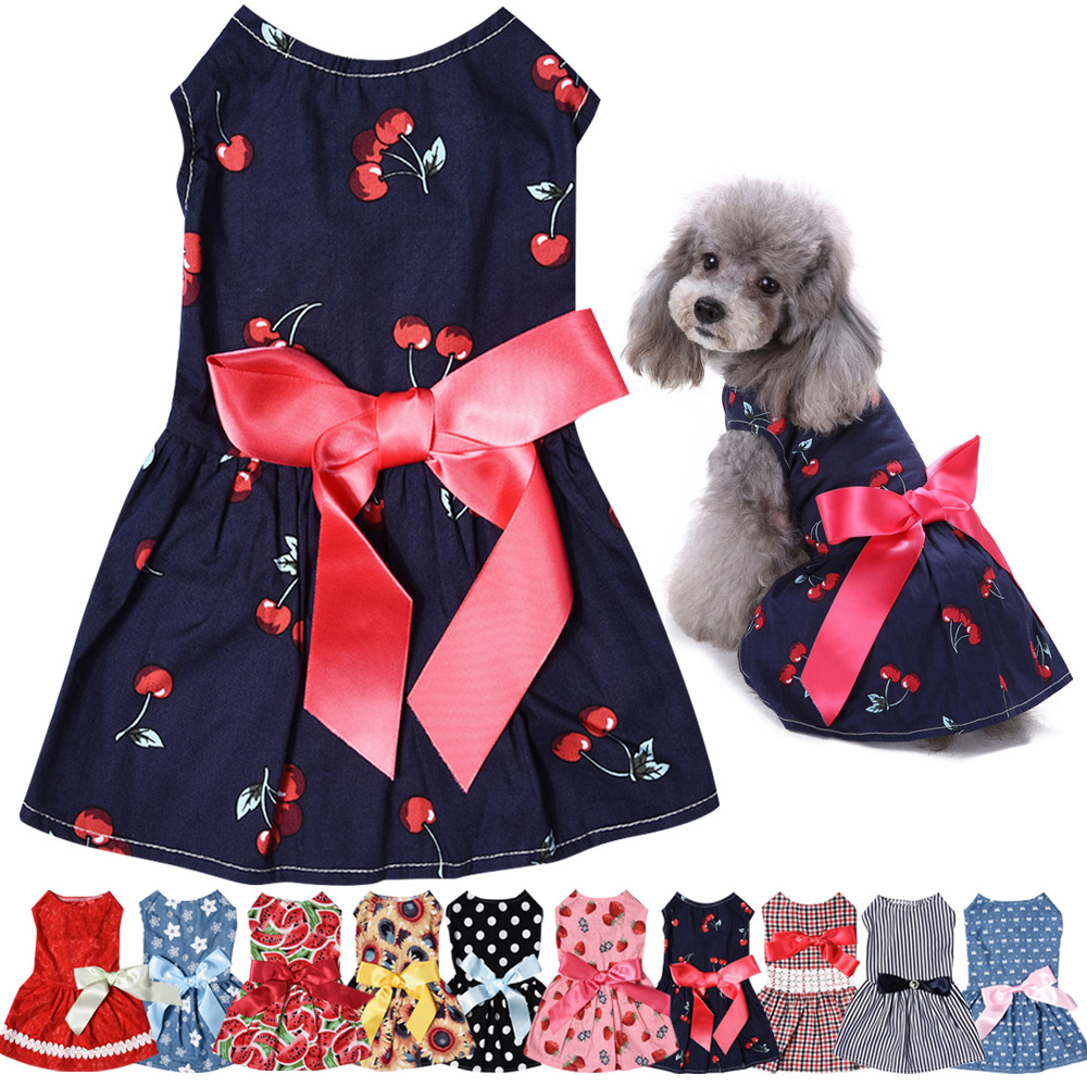 Pet Clothes Puppy Tshirt Adorable Dog Dresses Small Dogs Shirt Printed Costume 2