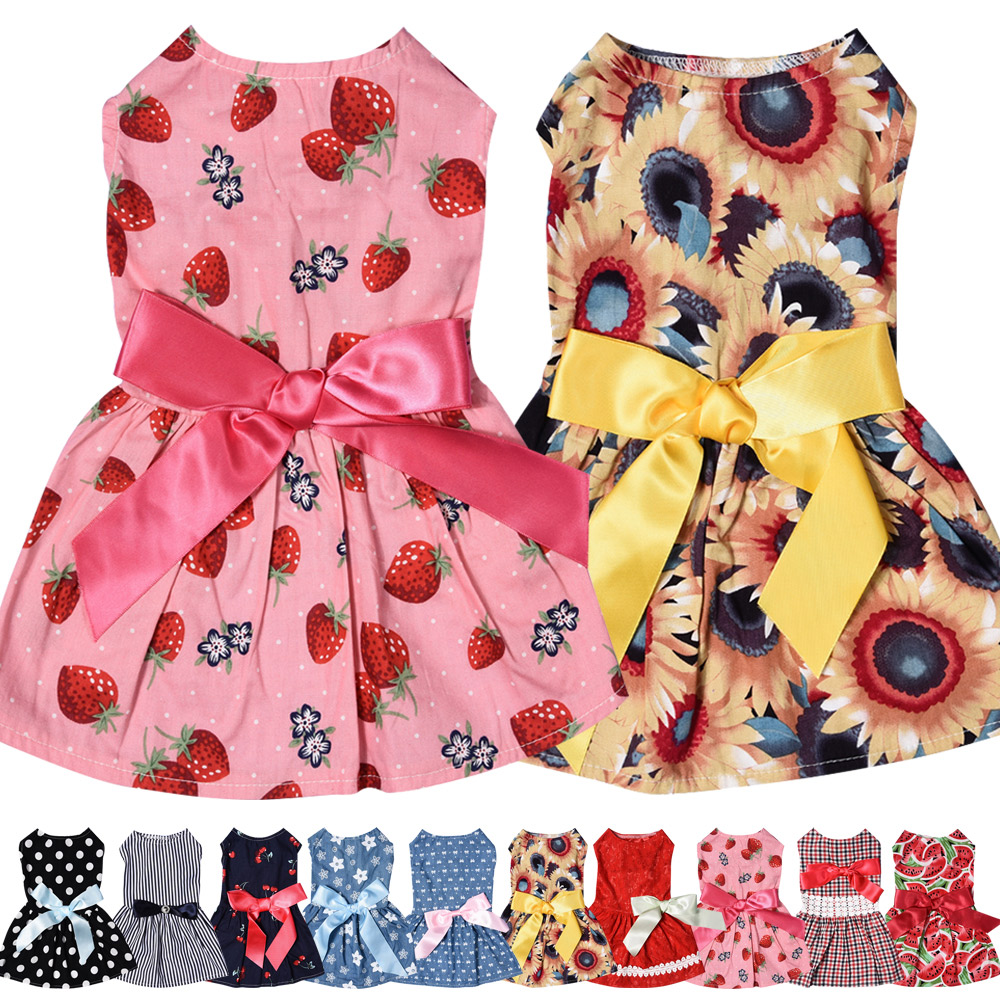 Dog Clothes Party Style Pet Cute Shirt Dress Coat Costume Outfit For Small Puppy 2