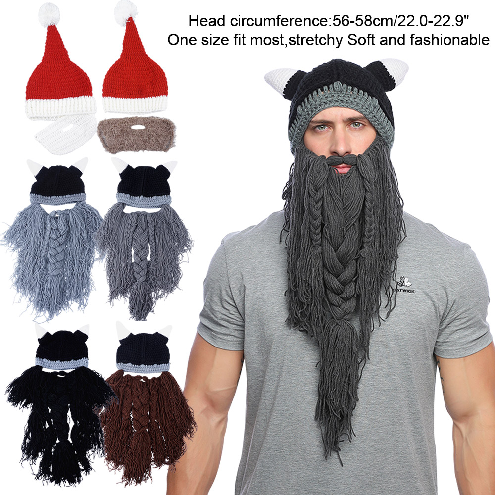 b27941f5e9d Cosplay Knight Knit Men Funny Caps Barbarian Handmade Winter Beard ...