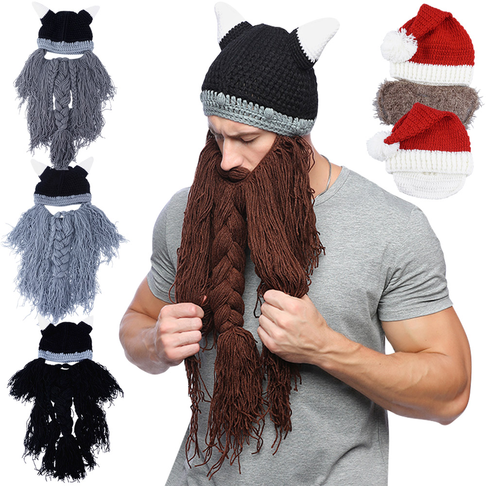 81f03a9253f Details about Cosplay Knight Knit Men Funny Caps Barbarian Handmade Winter  Beard Hats Beanies