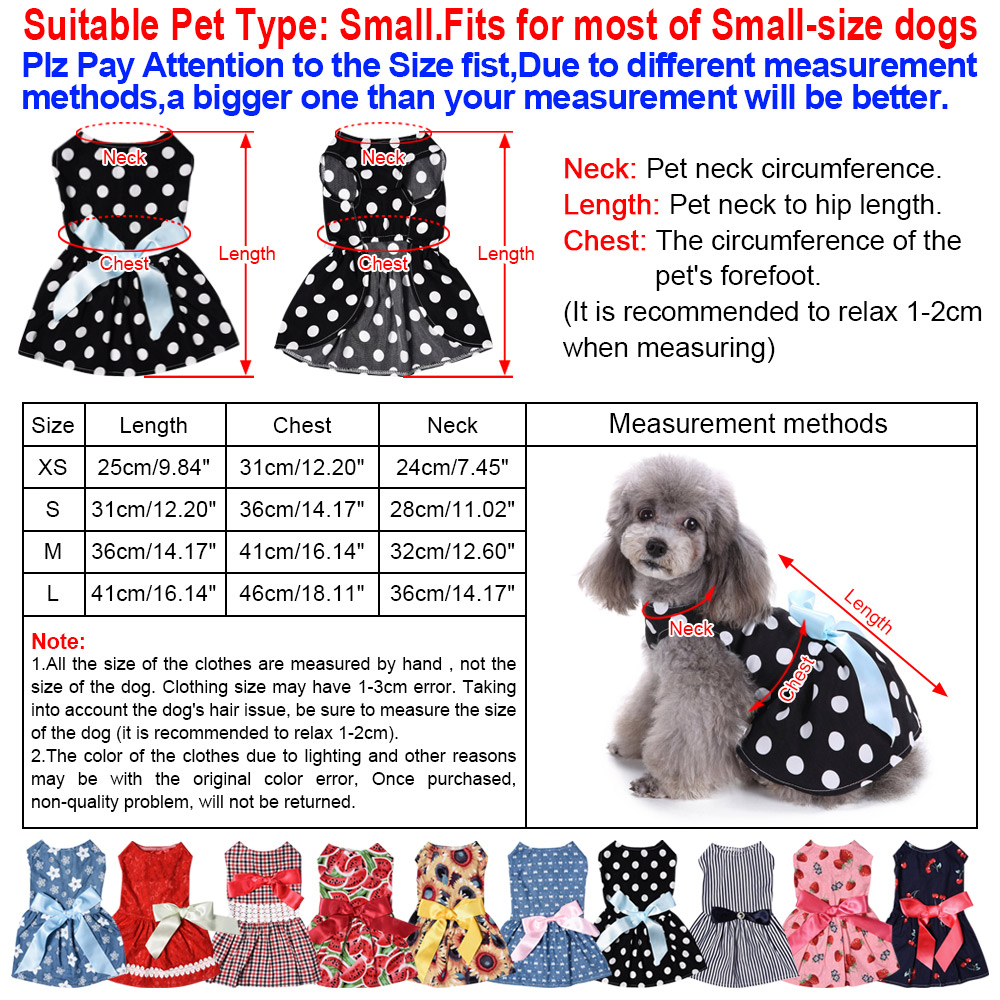 Dog Clothes Party Style Pet Cute Shirt Dress Coat Costume Outfit For Small Puppy 20