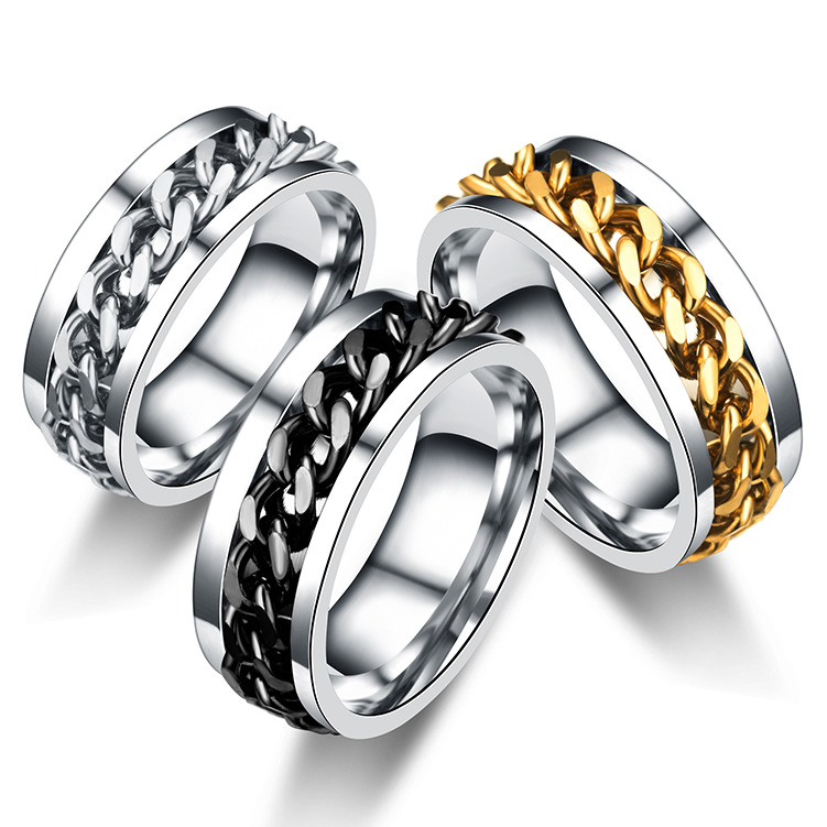 Stainless Steel Fashion Ring Chain Link Spinning Band Swivel Chain Ring Mens