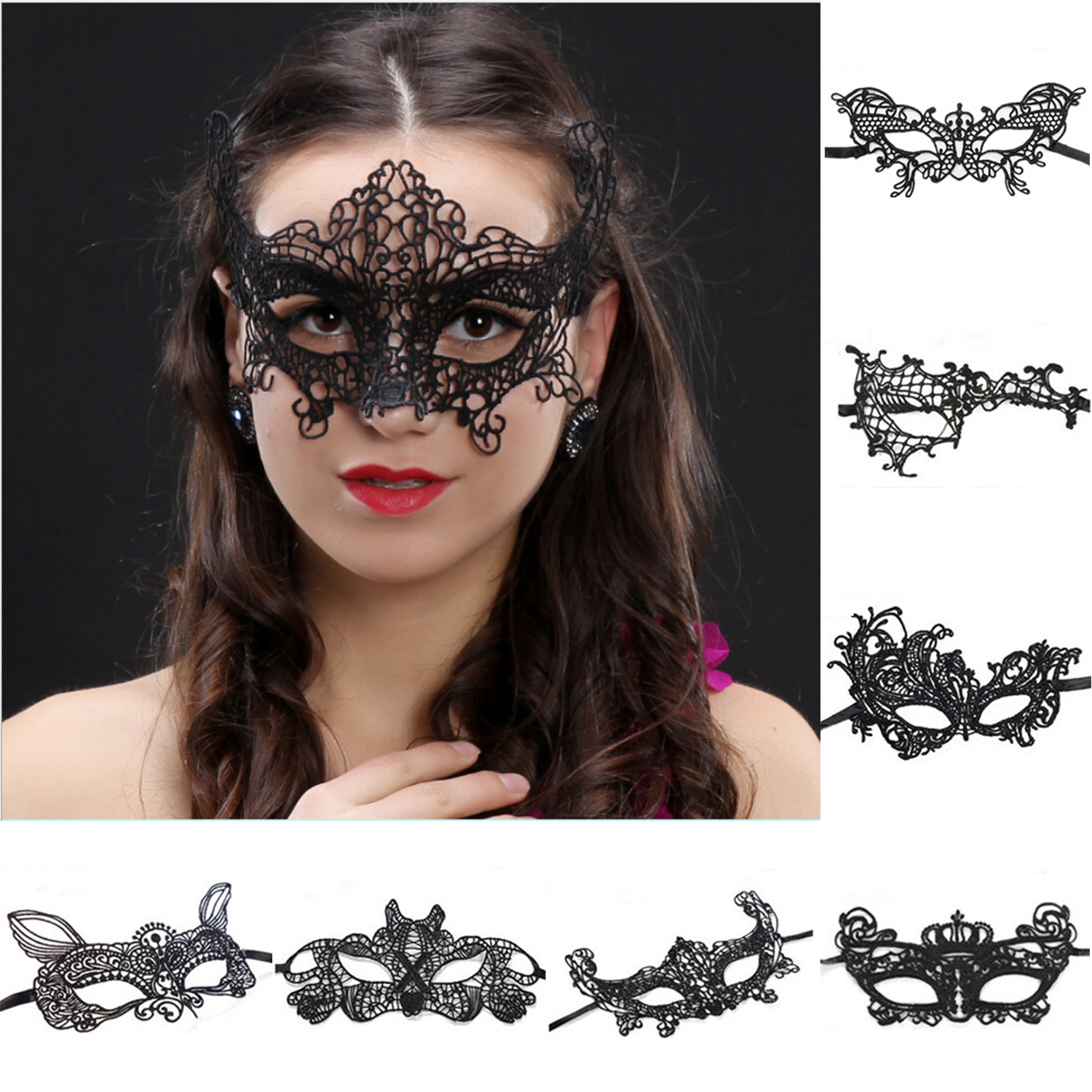 Brocade Crystal Masquerade Ball Victorian Antique Mysterious Fancy Lace Eye Mask