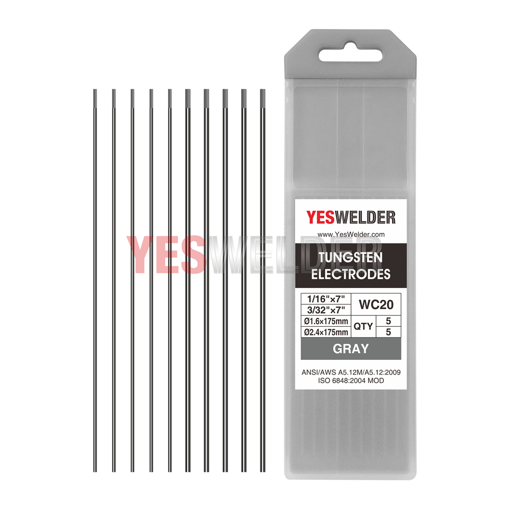 "Gray, WC20 10-pk  .040/""-1//16/""x7/"" TIG Welding Tungsten Electrode 2/% Ceriated"