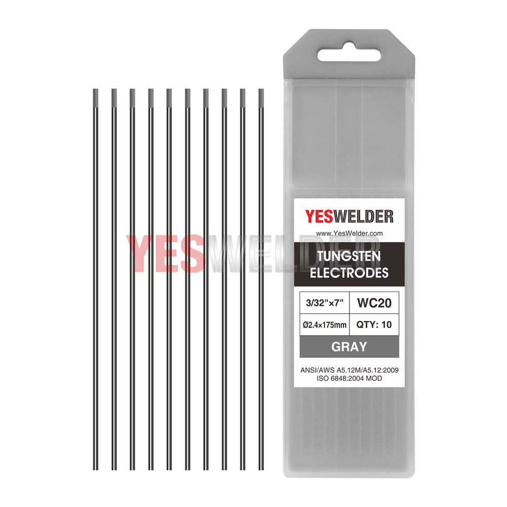 """2/% Thoriated WT20 Red Tungsten Electrode 7/"""" Assorted Size 040-1//16-3//32-1//8,10PK"""