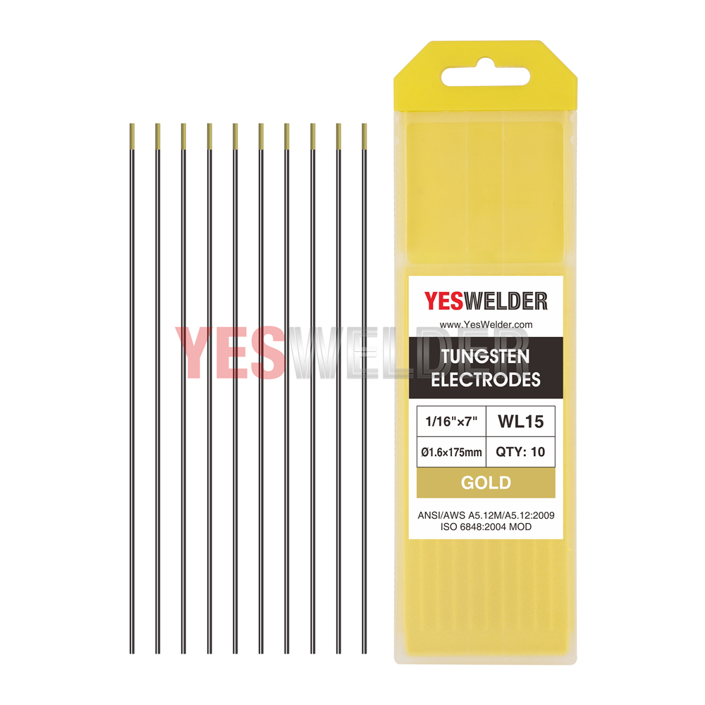 "TIG Welding Tungsten Electrode 2/% Thoriated Red, WT20 .040/""-1//16/"" 10-pk"
