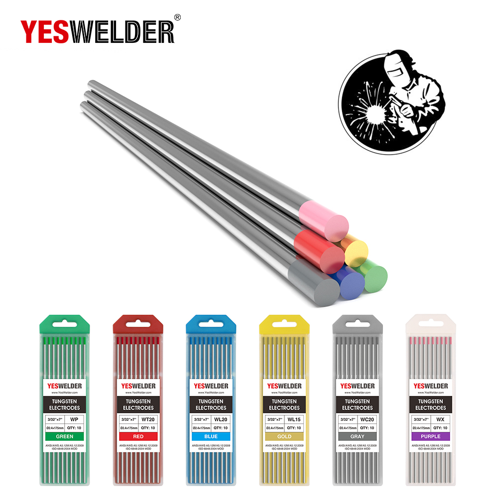 TIG Welding Tungsten Electrode 2/% Thoriated 5pk 3//32 /& 5pk 1//8 by 7 Assorted-size YESWELDER Red, EWTh-2