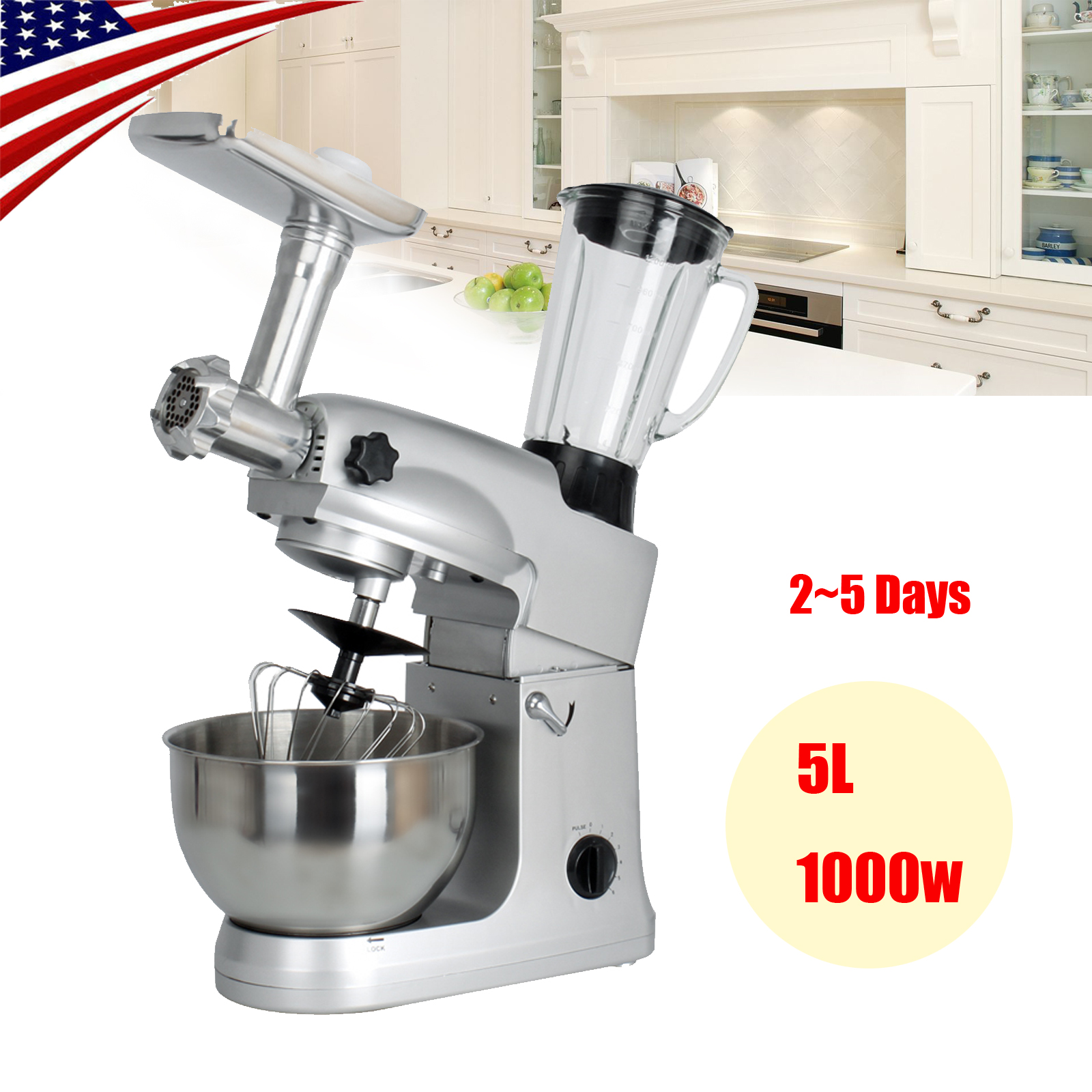 Portable Heavy Duty Stand Mixer 5L Powerful Motor Classic Plus Meat Grinder