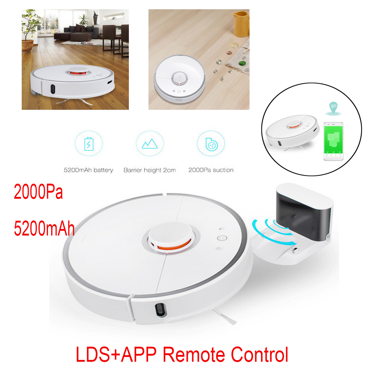 Roborock S5 Robotic Vacuum and Mop Cleaner 2000Pa Super Power Suction /&Wi-Fi Connectivity and Smart Navigating Robot Vacuum with 5200mAh Battery Capacity,Poland Service and Warranty White