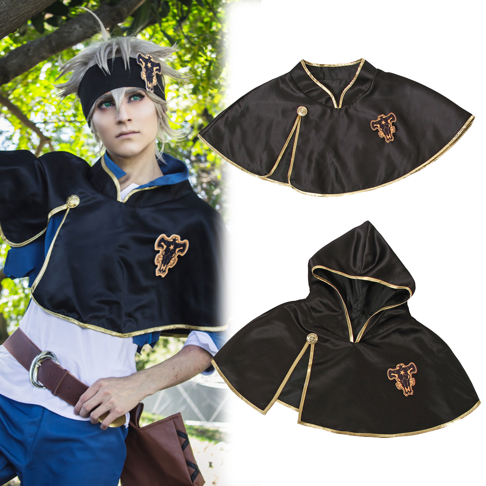 Anime Black Clover Asta Black Bull Hooded Short Cape Cloak Cosplay Costume Suit