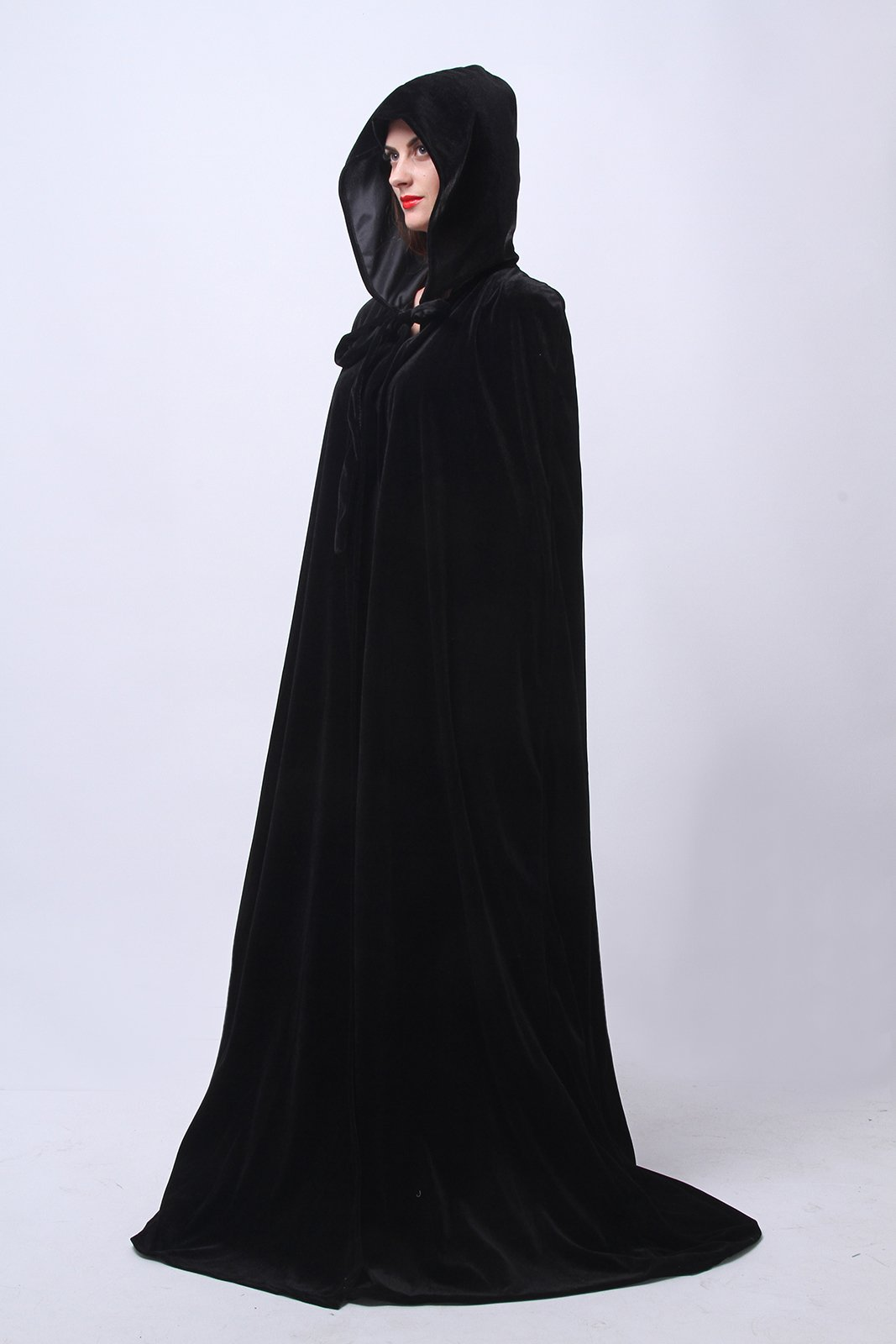 Adult Long Hooded Cape Cloak Coat Fancy Dress Vampire Cosplay Party Costume QK