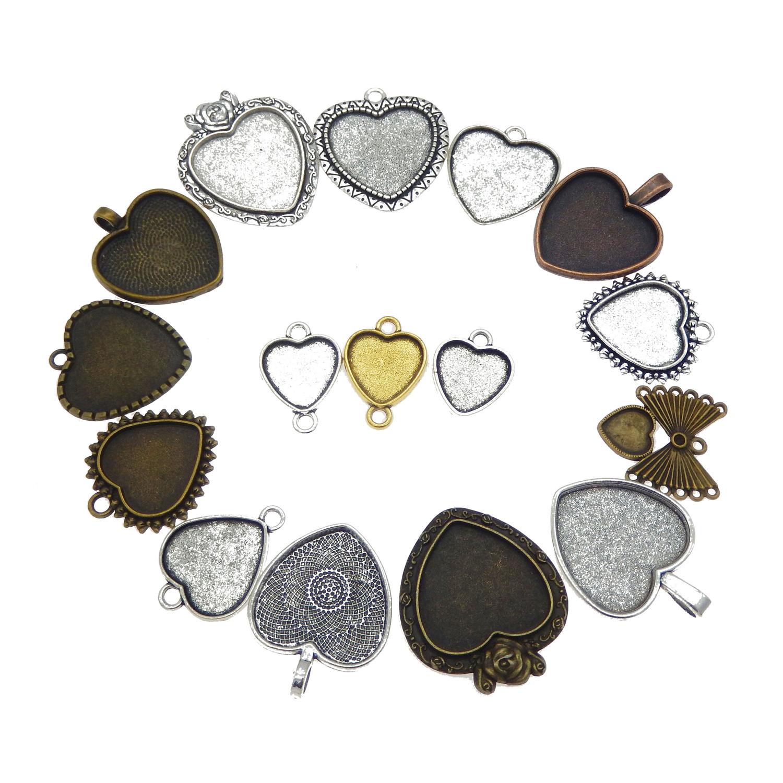 15pcs Vintage Style Metal Base Mixed Heart Shaped Bezels Setting Pendants Tray