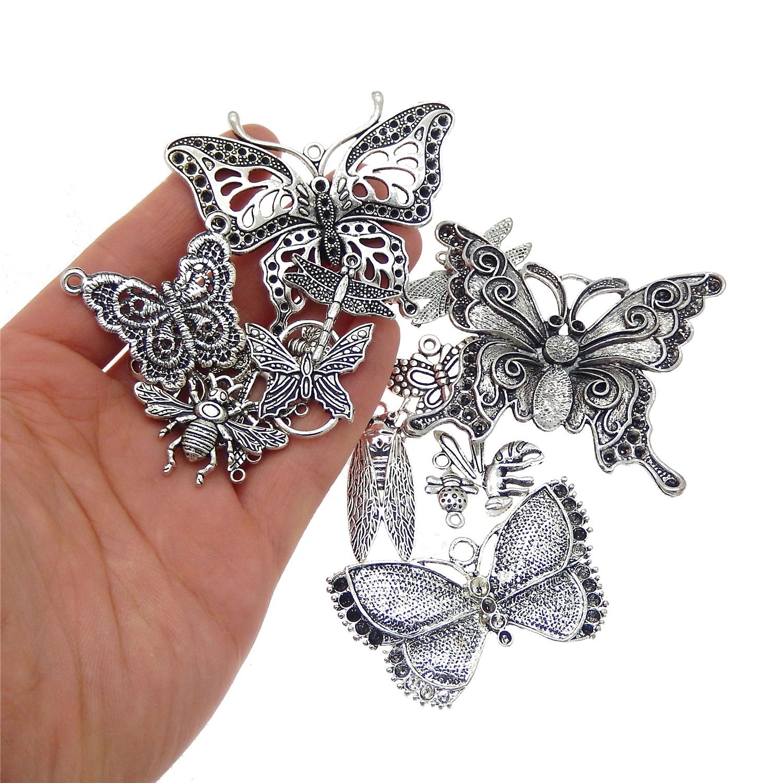 10PCS Mixed vintage alliage d/'argent Insecte Papillon Pendentif Bijoux Making
