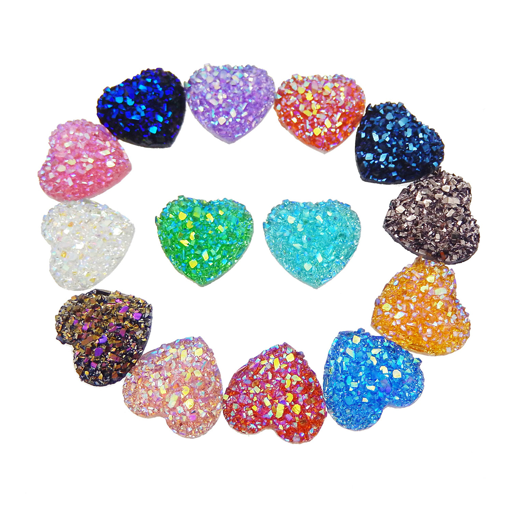 Wholesale 100pcs Assorted Round Oval Druzy Agate Resin Cabochons Flatback DIY