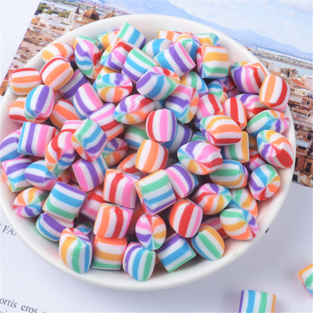 TEUN 30 Pieces Colorful Lollipops Clay Pendant Polymer Clay Candy Lollipop Charms for DIY Handmade Crafts