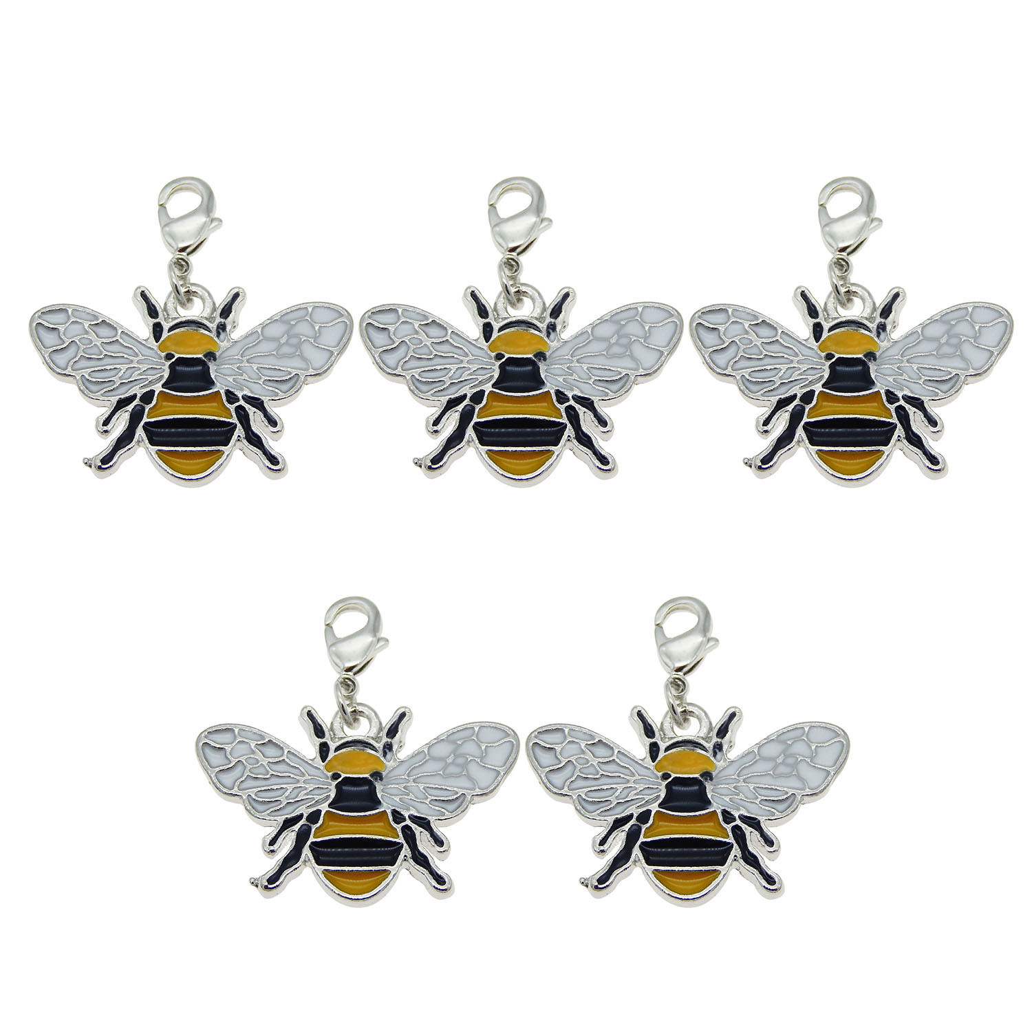 Lot of 8 Multi-colors Enamel Honeybee Charm Necklace Pendant 26x17 MM DIY Crafts