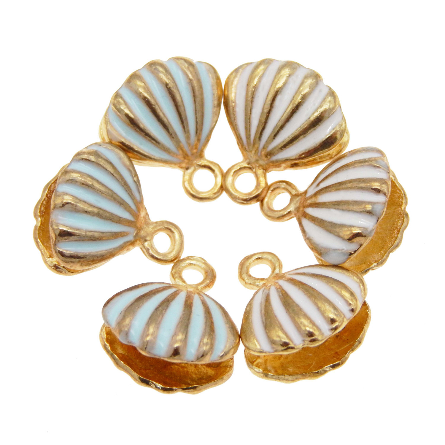 12pcs Mixed Alloy Jewelry Pendants Enamel Gold Conch Shell Charms Accessories