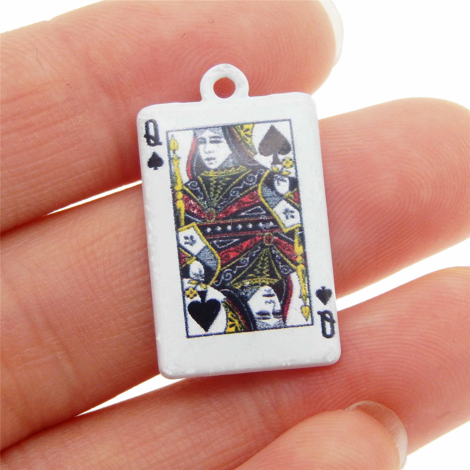 10pcs Alloy White Poker Diamond Queen 26x15mm Pendant Charms Jewelry Accessories