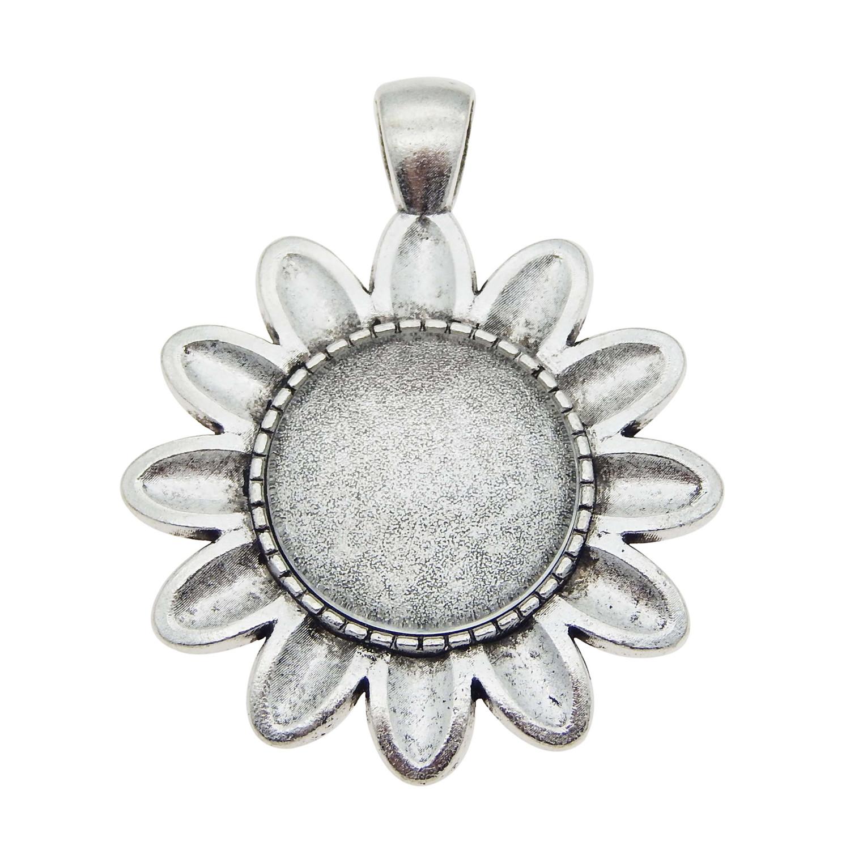 100 pcs Bracelet Metal  Pendant Sunflower Necklace Silver DIY  Findings Making