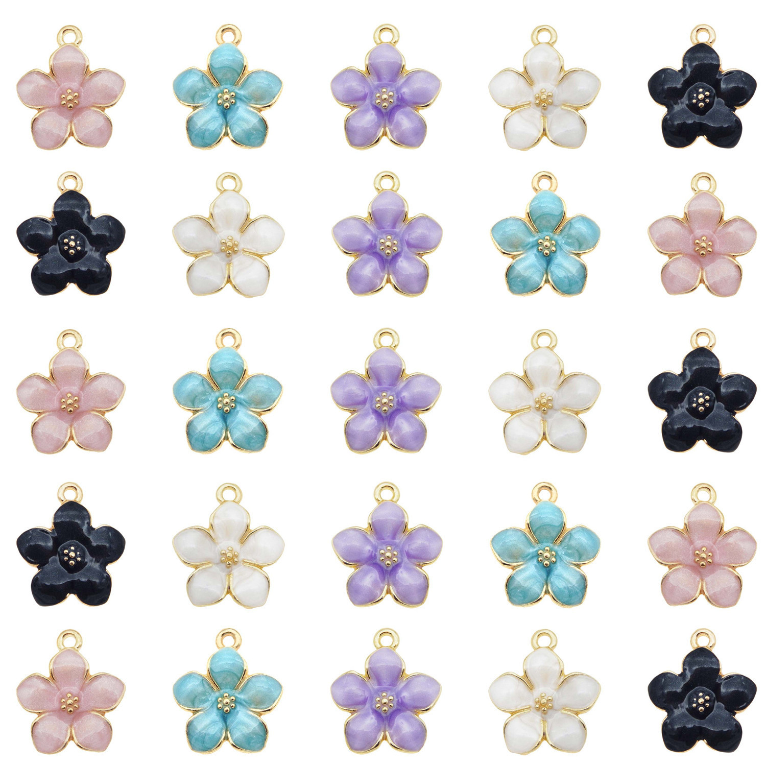 Wholesale Colorful 17x15mm Assorted Daisy Flower Charms Pendant Jewelry 20PCS
