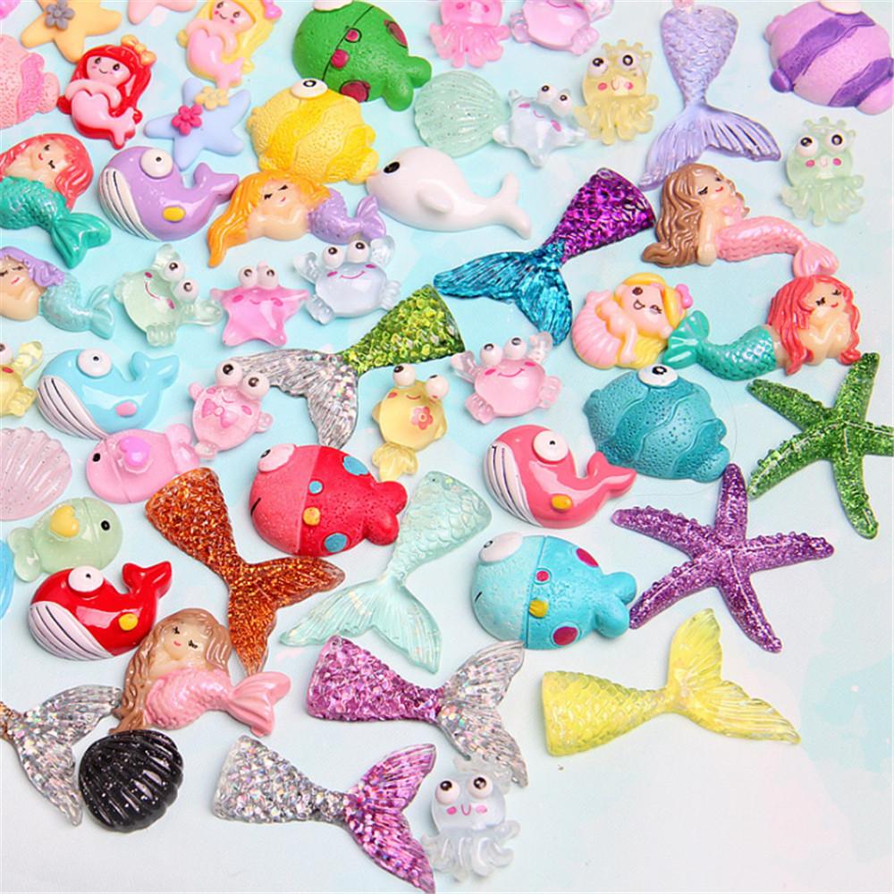 Handicraft Resin Starfish Shells Cabochons Mixed Colors Flatbacks Decors 10 pcs