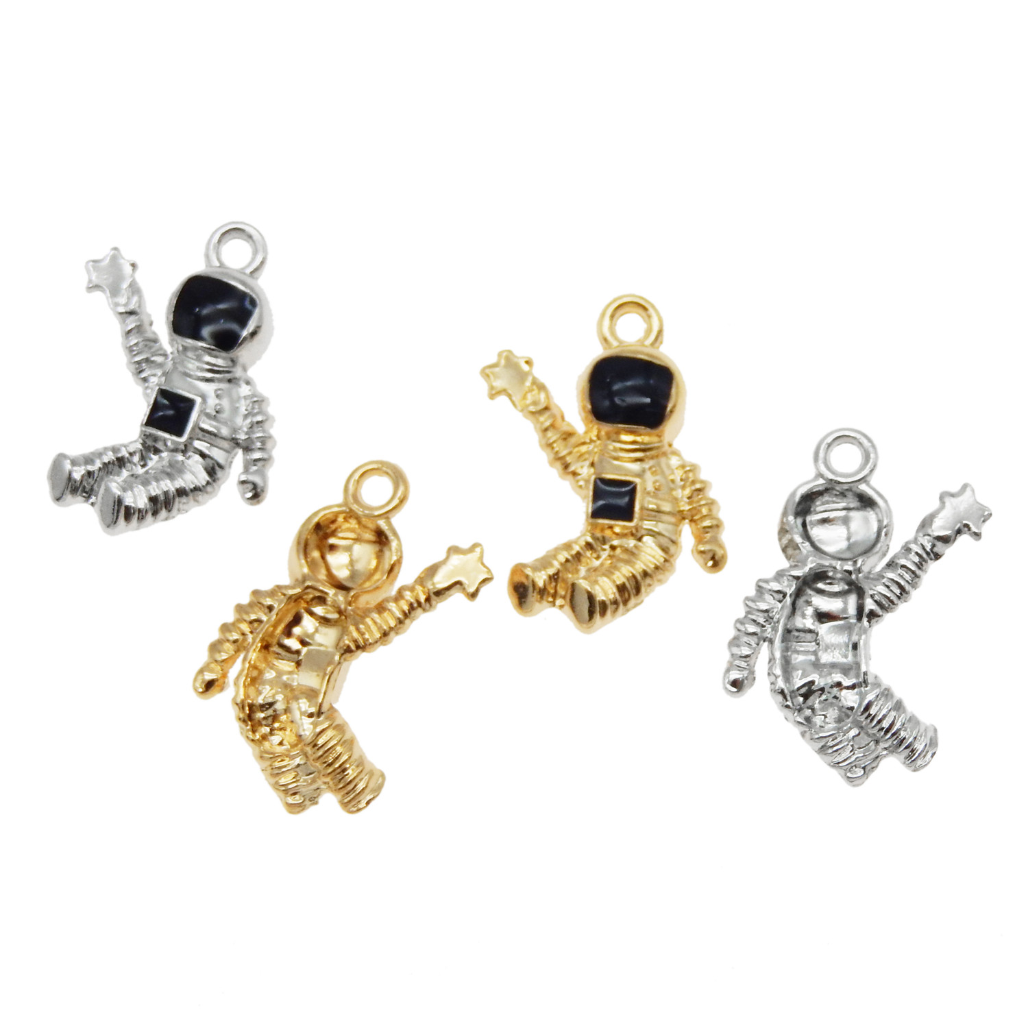 9PCS Enamel Plated Assorted Moon with Astronaut Charms Pendant Jewelry Findings