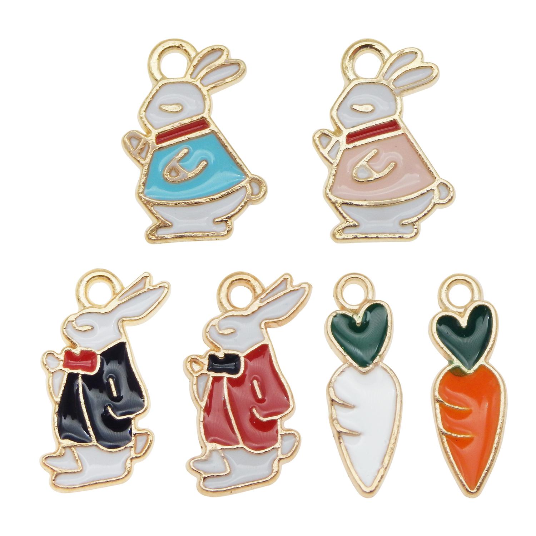 24-pack Bulk Enamel Carrot and Rabbit Charm Gold Earring Necklace Pendant 1-2cm