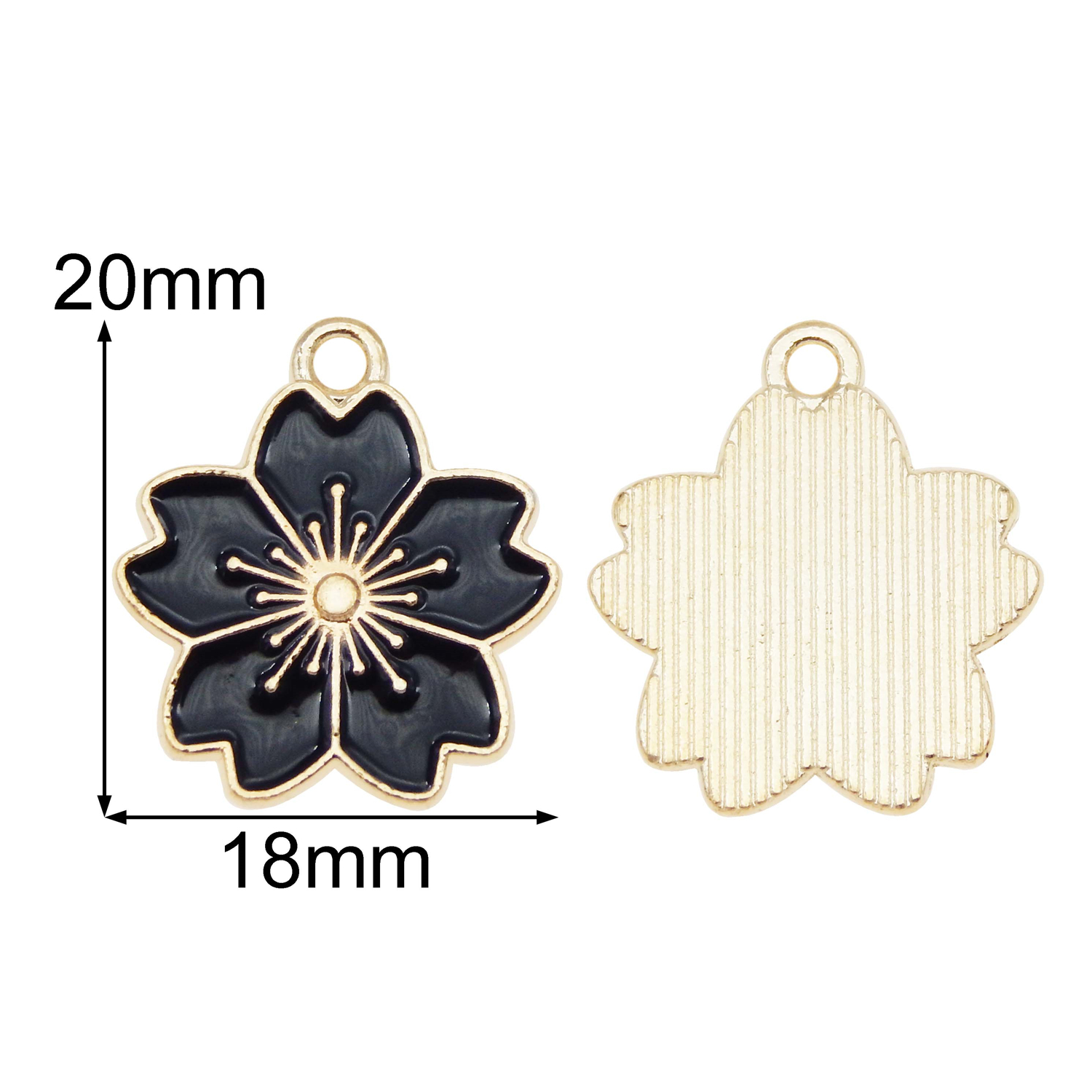 20pcs Mixed Colors Enamel Cherry Blossom Pendant Charms DIY Findings Accessories