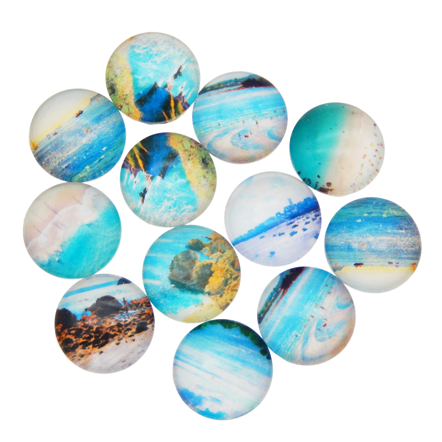 20pcs Marine Animal Turtle Dolphin Glass Flatback Cameo Cabochons DIY 10-20MM