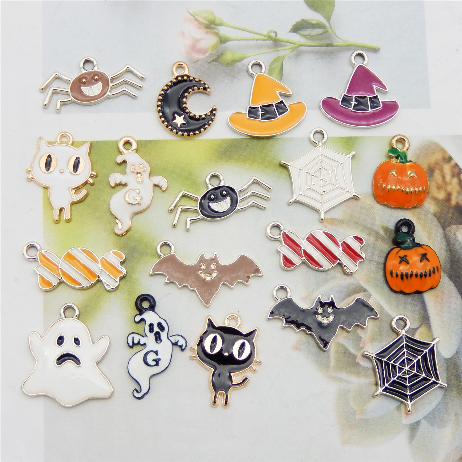 14Pcs Enamel Alloy Mixed Halloween Series Ghost Bat Pendant Charms DIY Findings