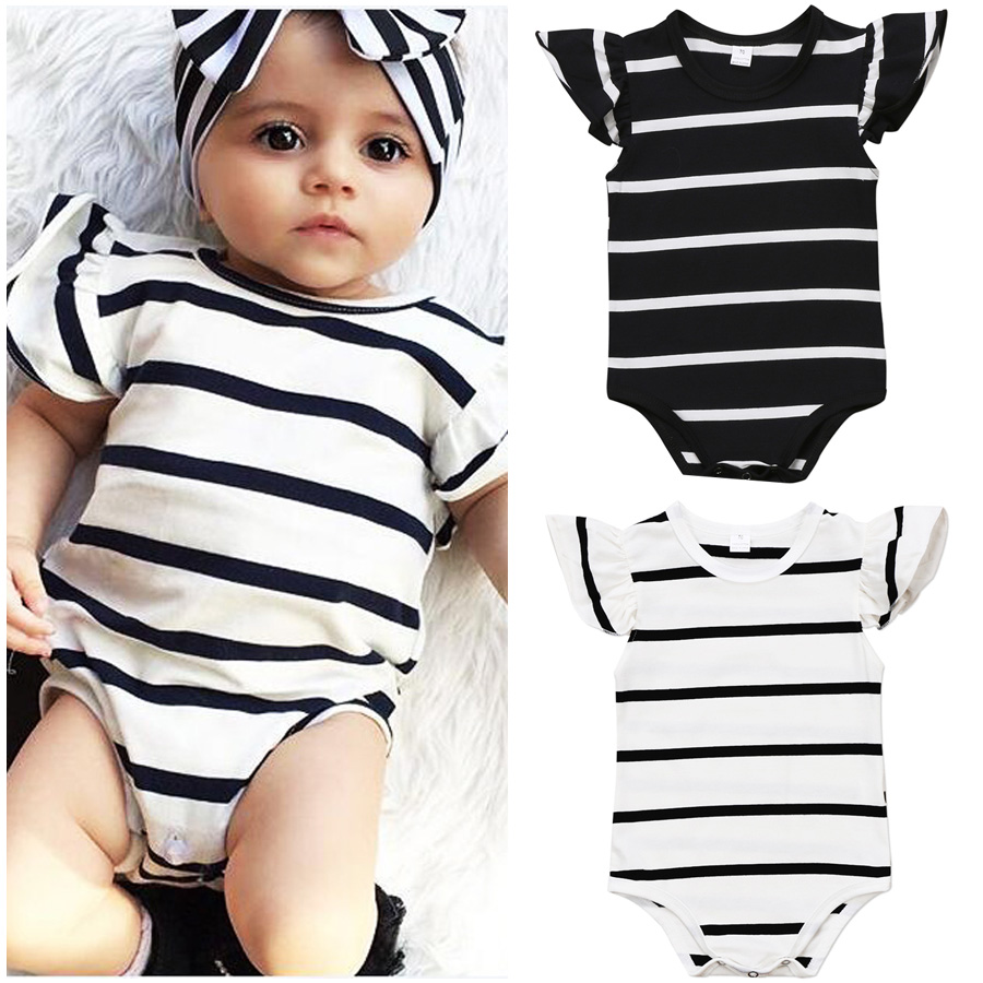 Baby Kids Girl Infant Strappy Romper Jumpsuit Bodysuit Cotton Clothes Outfits