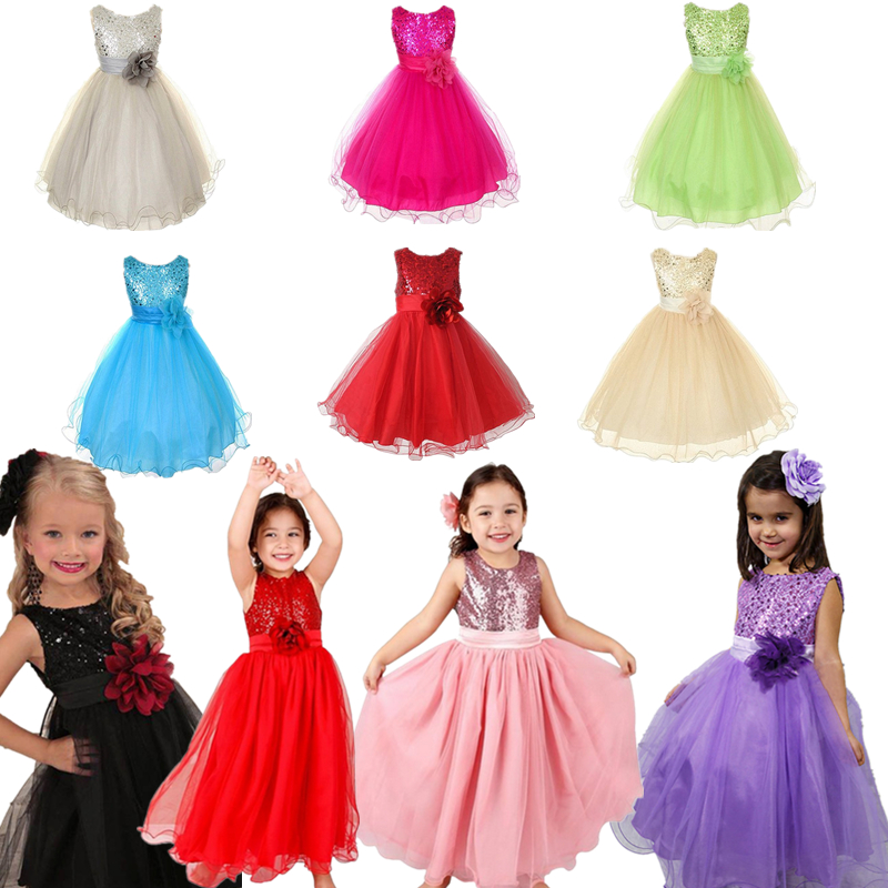 2a12bf405969 XMAS Flower Baby Girls Dress Princess Wedding Party Bridesmaid Gown ...