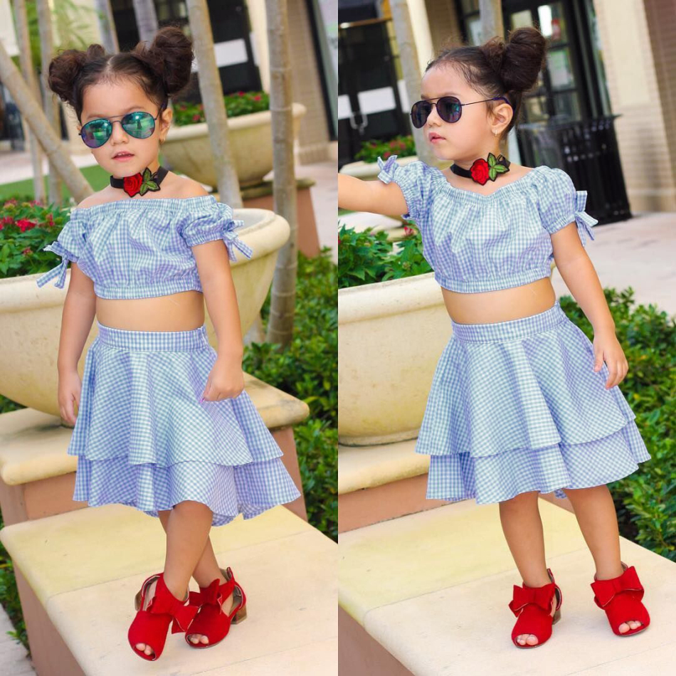 61133dbabe3cb5 Details about US Kids Baby Girls Plaid Off Shoulder Crop Top Tutu Skirt Dress  Outfits Clothes