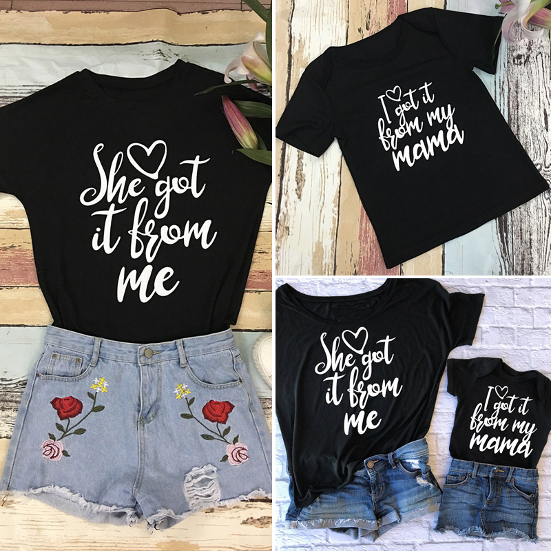 61d6a4c9eb1ee Details about Mother and Daughter Family Matching Summer Outfits Cotton  T-Shirt Tops Clothes