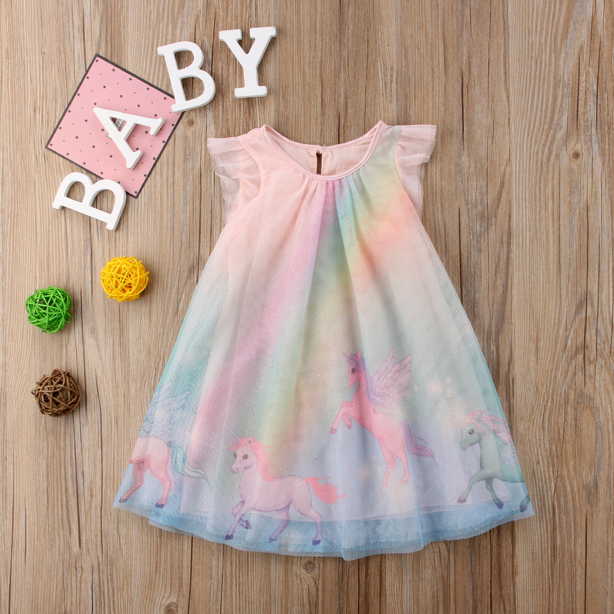 5399e660fe7b5 Details about Toddle Baby Girls Fly Sleeve Dress Unicorn Party A Line Sundress  Tutu Clothes