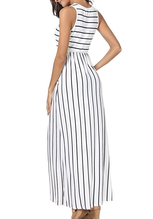 a80eb48905038 Fashion Women's Summer Sleeveless Striped Pockets Flowy Casual Long ...