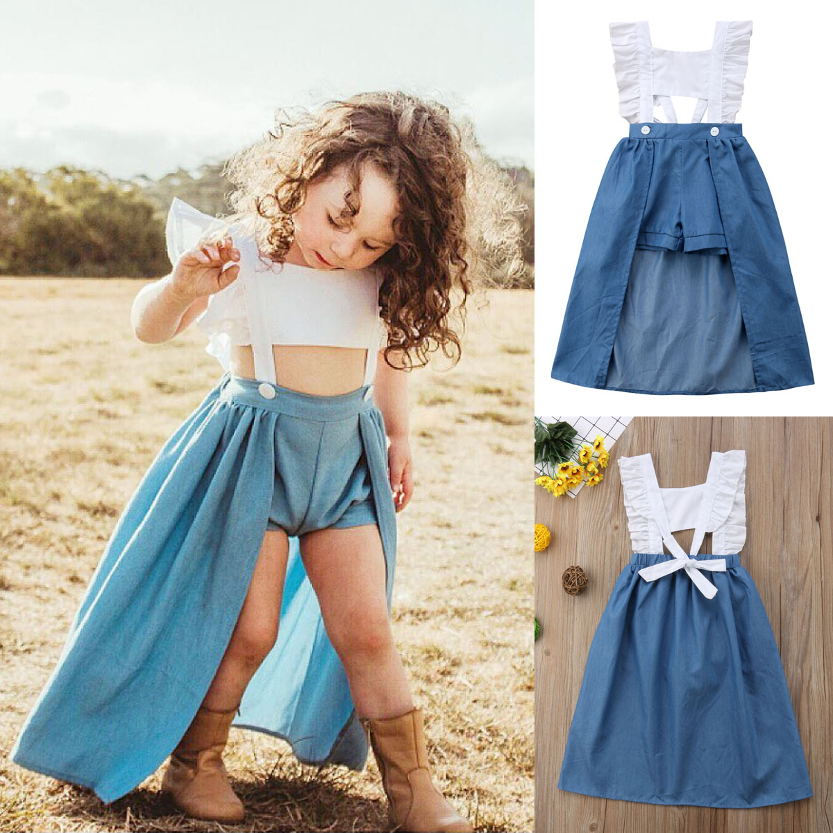 03d2365e17 US Toddler Baby Kids Girls Ruffle Denim Romper Bodysuit Jumpsuit ...