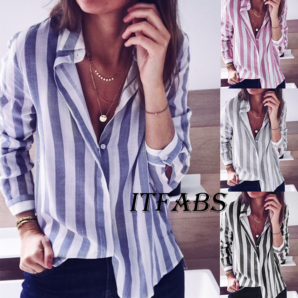 71182ebab661 Women Striped Long Sleeve Loose Fashion Ladies Summer Casual Blouse Tops T  Shirt