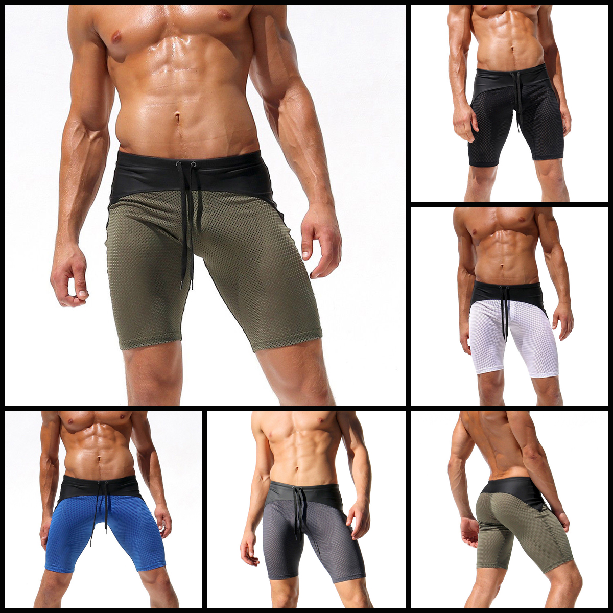 9c39b3753 Details about Mens Swim Fitted Shorts Bodybuilding Workout Gym Running  Tight Lifting Shorts UK