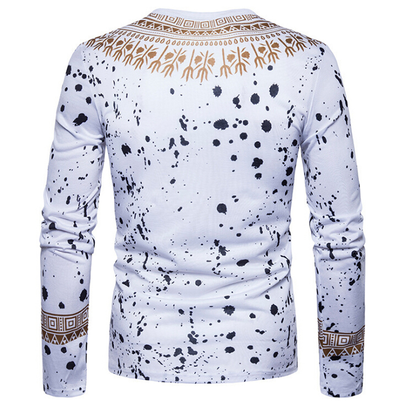 UK Men Casual Minority African Indian Pullover Long Sleeve T-shirt Tops Dashiki