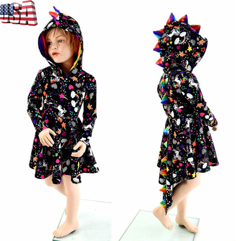 728bc152ab9d Details about Canis Toddler Kids Baby Girl Dinosaur Cosplay Party Dress  Hoodie Skirt Sundress