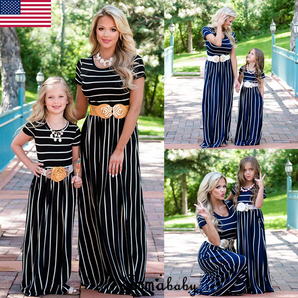 Mother and Daughter Dress Striped Matching Mom Girls Madi Dress Family Skirt