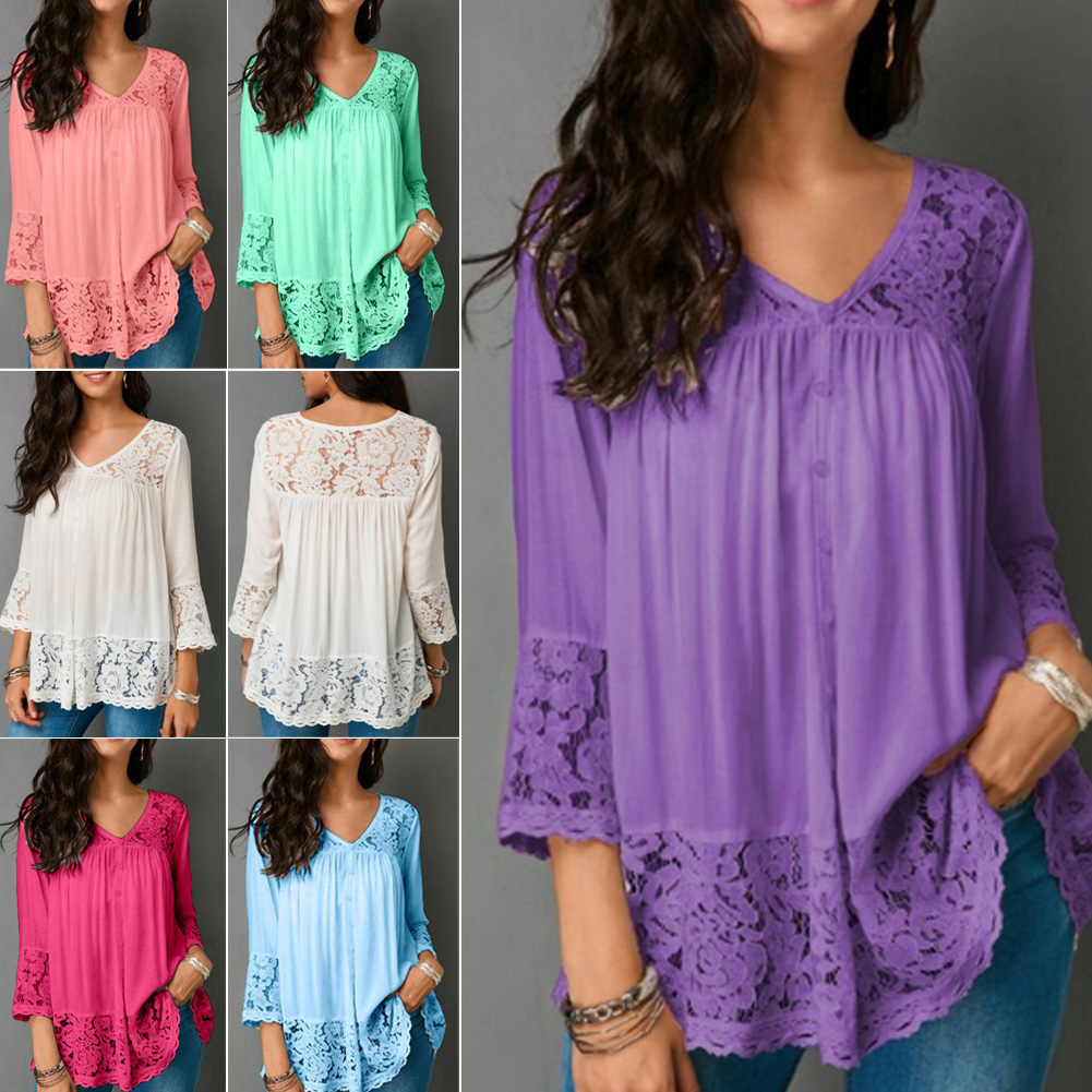 UK Womens Floral V Neck Baggy Blouse Ladies Casual Loose Tunic Tops Plus Size