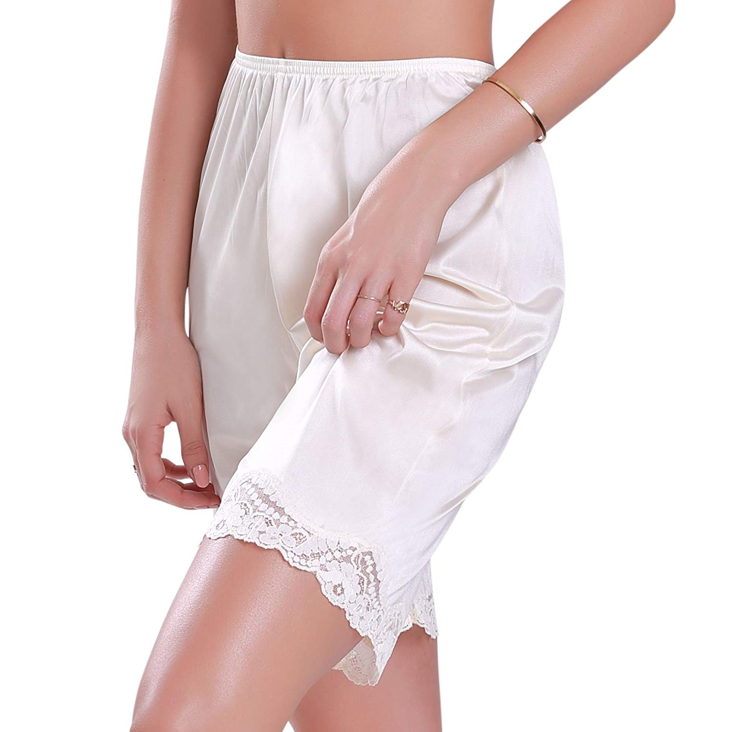 Illusion Women/'s Premium Nylon Daywear Bloomer Slip Pants With Lace Trim 1039