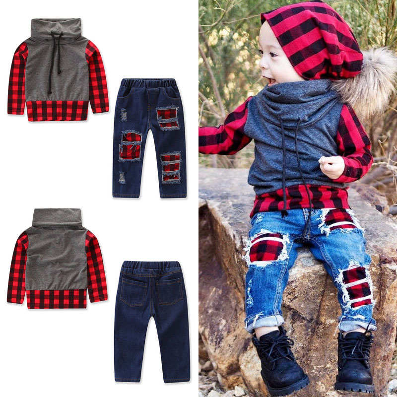 Kids Children Baby Boys Long Sleeve T-Shirt Tops+Trousers Clothes Outfits Set