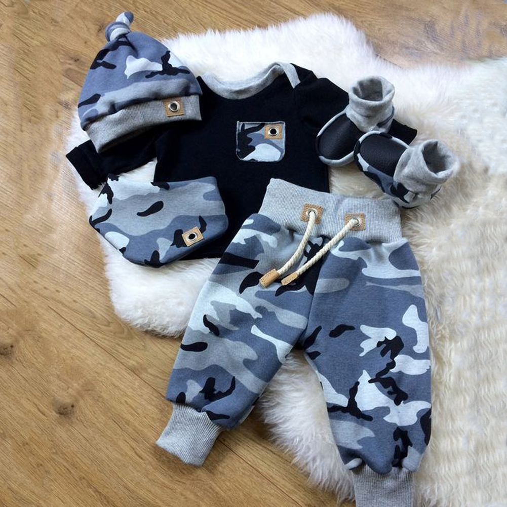 US Kid Baby Girls Long Sleeve Camouflage Hat Beanie Pants Romper Winter Outfit